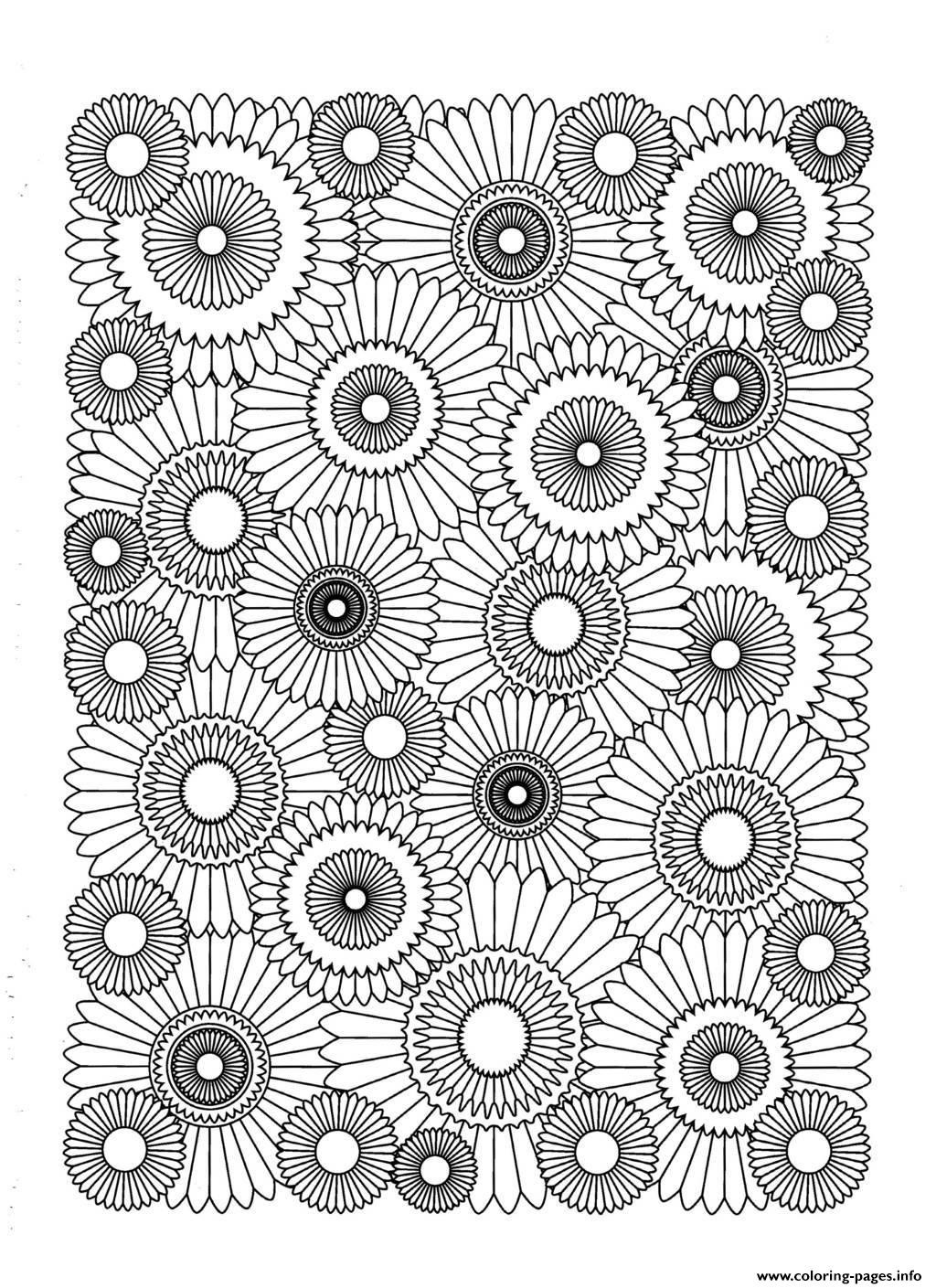 Sunflower Coloring Pages For Adults  Adult Sunflower Coloring Pages Printable