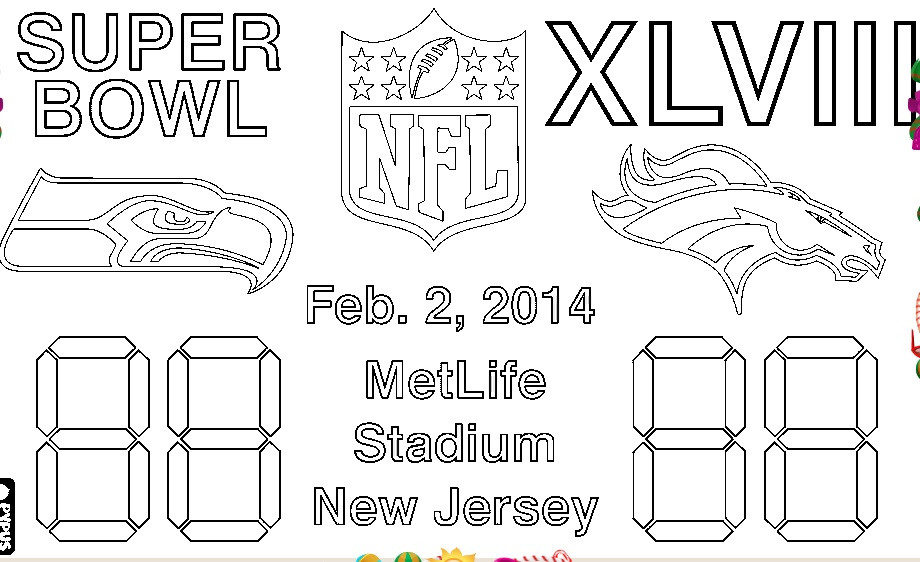 Super Bowl Coloring Pages For Kids  2015 Super Bowl Coloring Pages For Kids