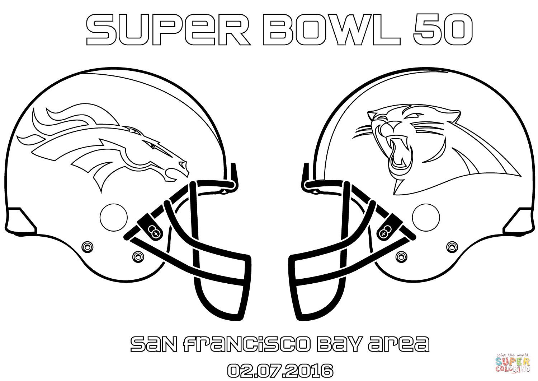 Super Bowl Coloring Pages  Super Bowl 50 Carolina Panthers vs Denver Broncos