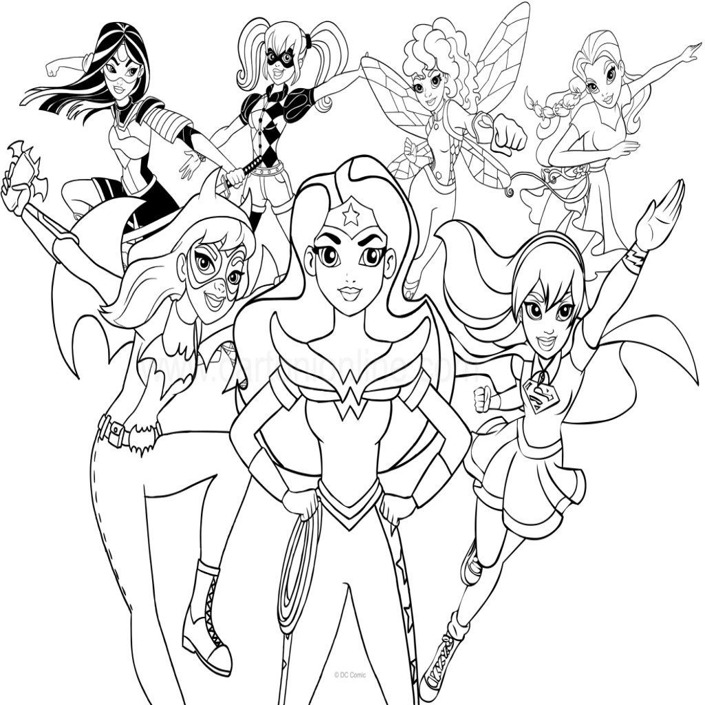 Super Hero Coloring Book Pages  Dc Superhero Girls Coloring Sheets thekindproject