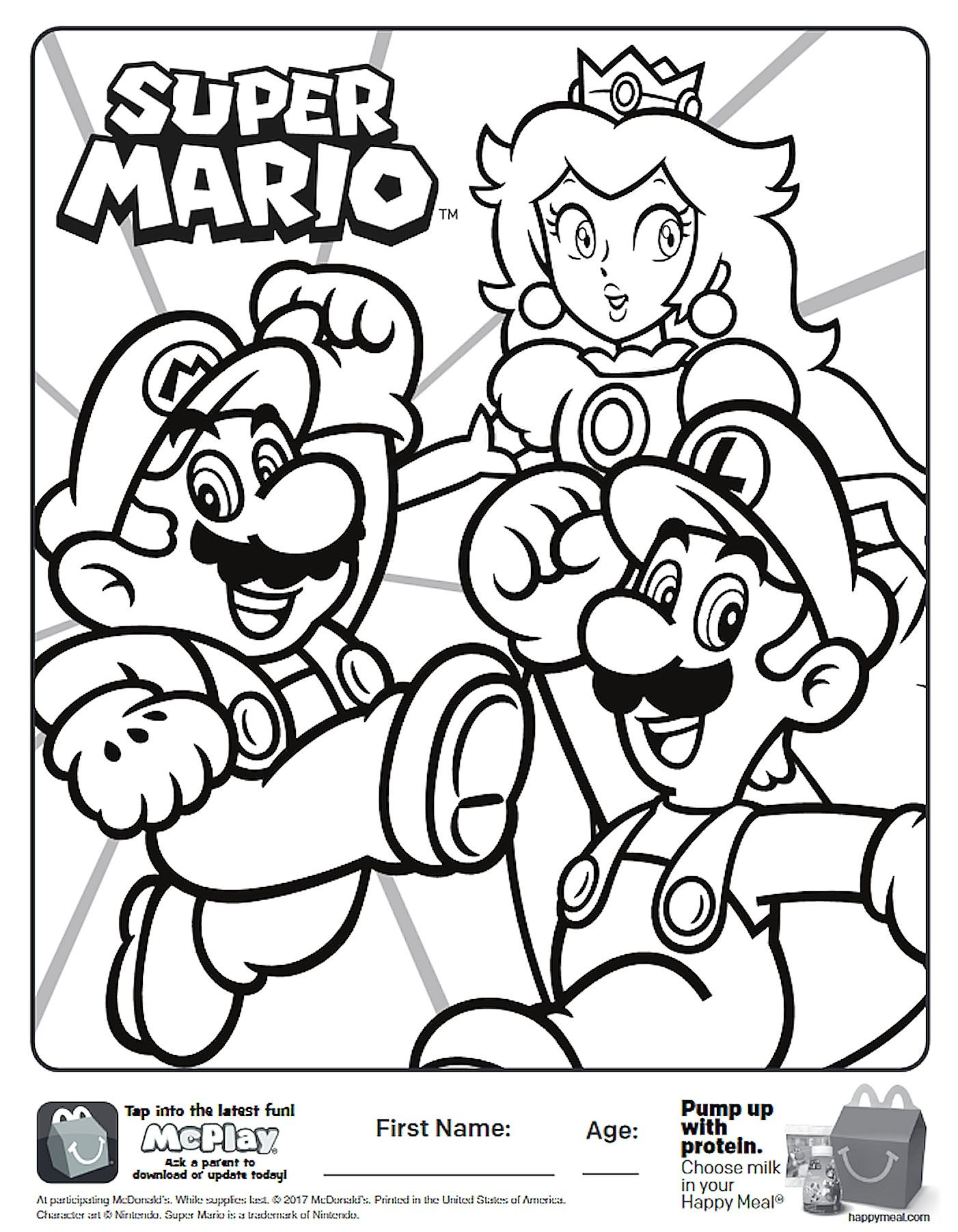 Super Mario Coloring Book  Here is the Happy Meal Super Mario Coloring Page