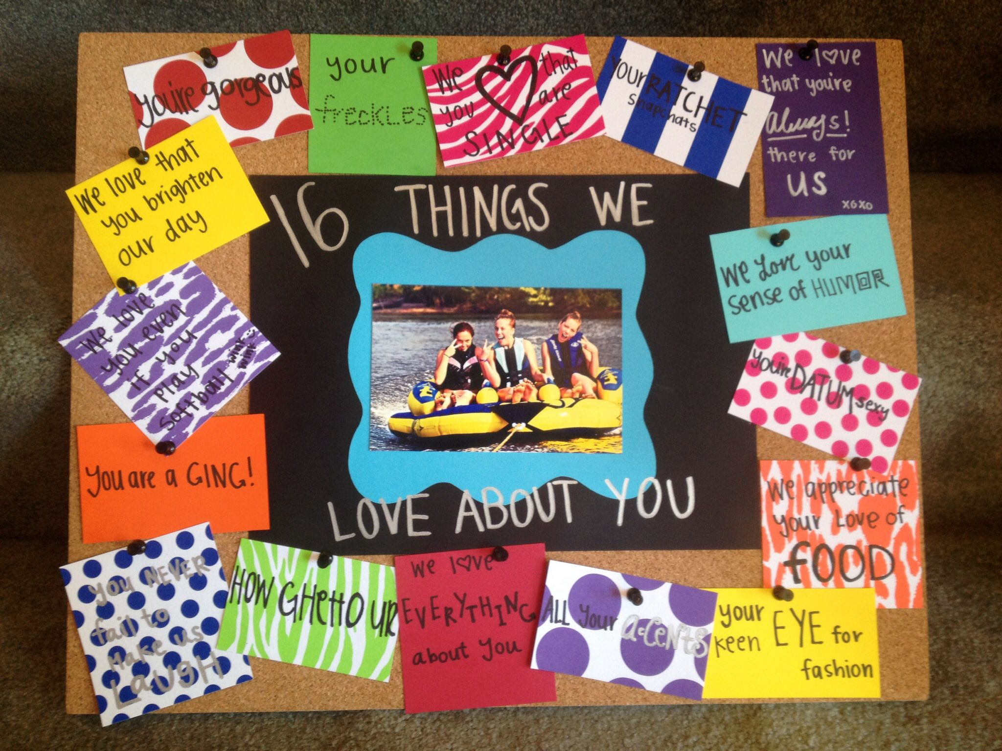 """Sweet Sixteen Gift Ideas For Girls  Sweet 16 birthday t idea """"16 things we love about you"""
