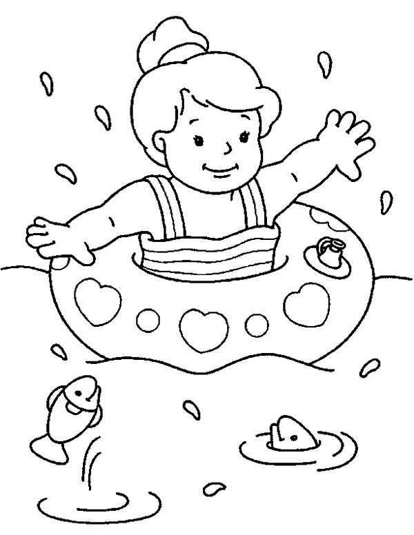 Swim Coloring Pages  Swimming at the Sea on Summertime Coloring Page Download