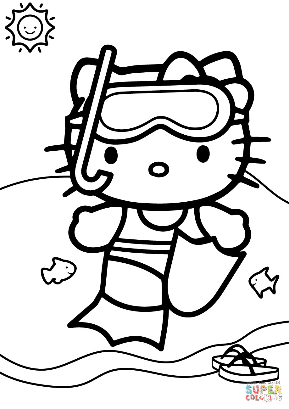 Swim Coloring Pages  Hello Kitty Goes Swimming coloring page