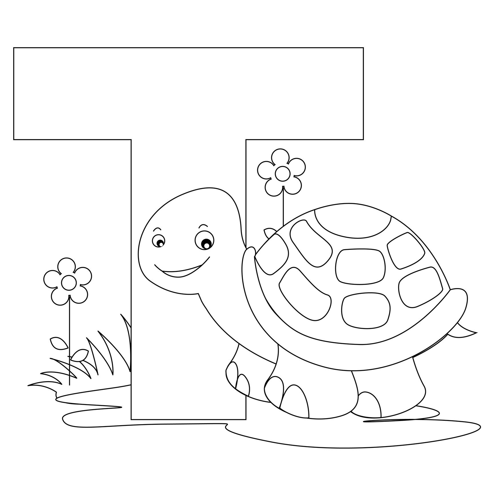 T Coloring Pages For Kids  Free Printable Alphabet Coloring Pages for Kids Best