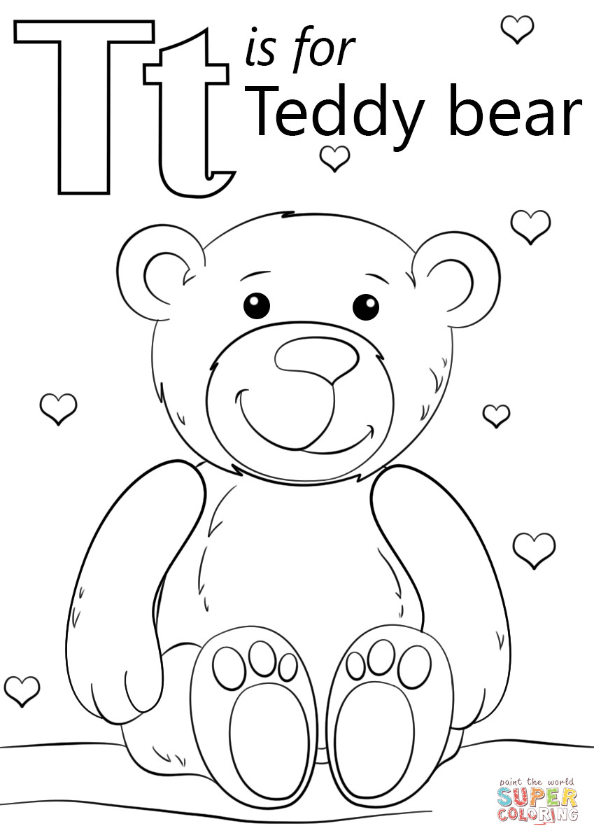 T Coloring Pages For Kids  Letter T is for Teddy Bear coloring page