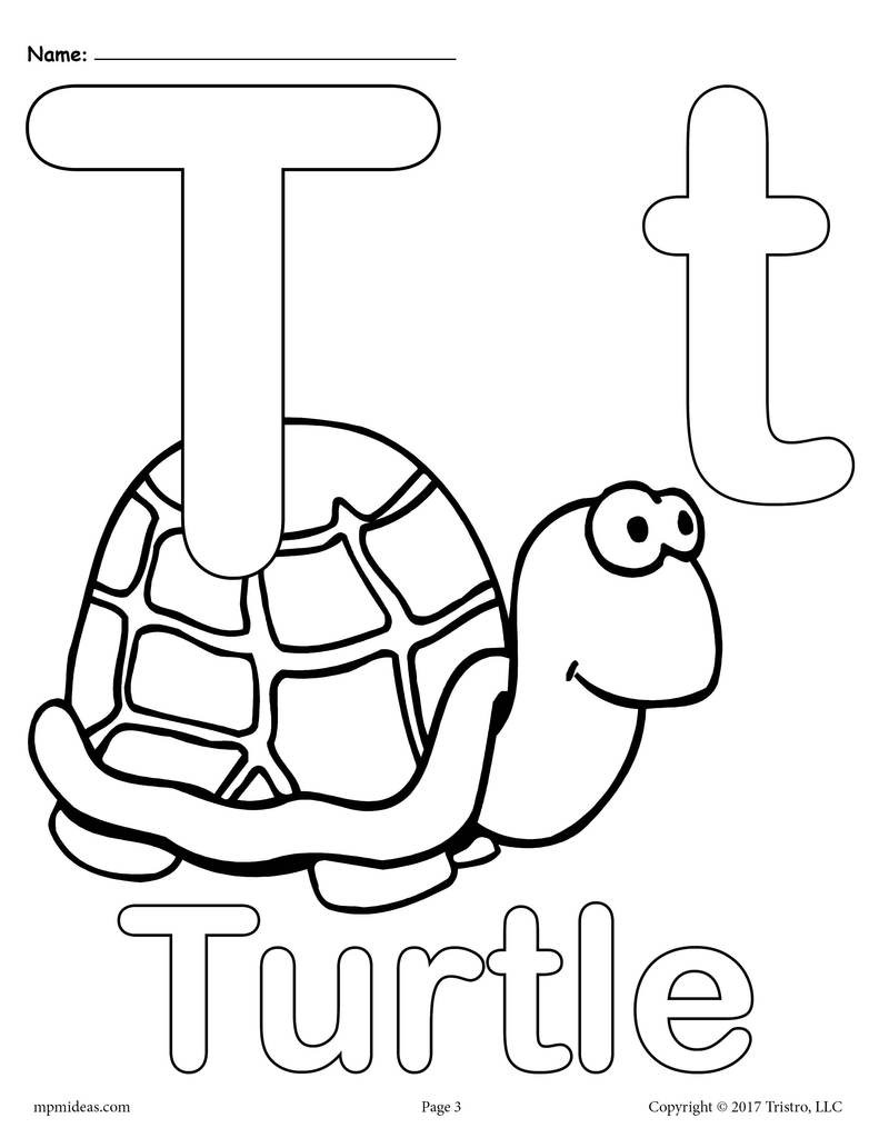 T Coloring Pages For Kids  Letter T Alphabet Coloring Pages 3 FREE Printable