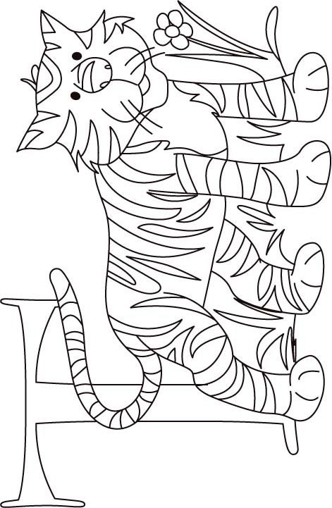 T Coloring Pages For Kids  T for tiger coloring page for kids