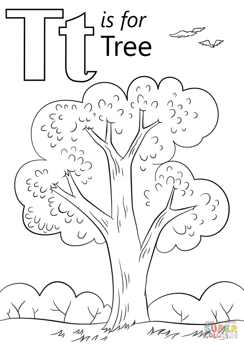 T Coloring Pages For Kids  Letter T is for Tree coloring page