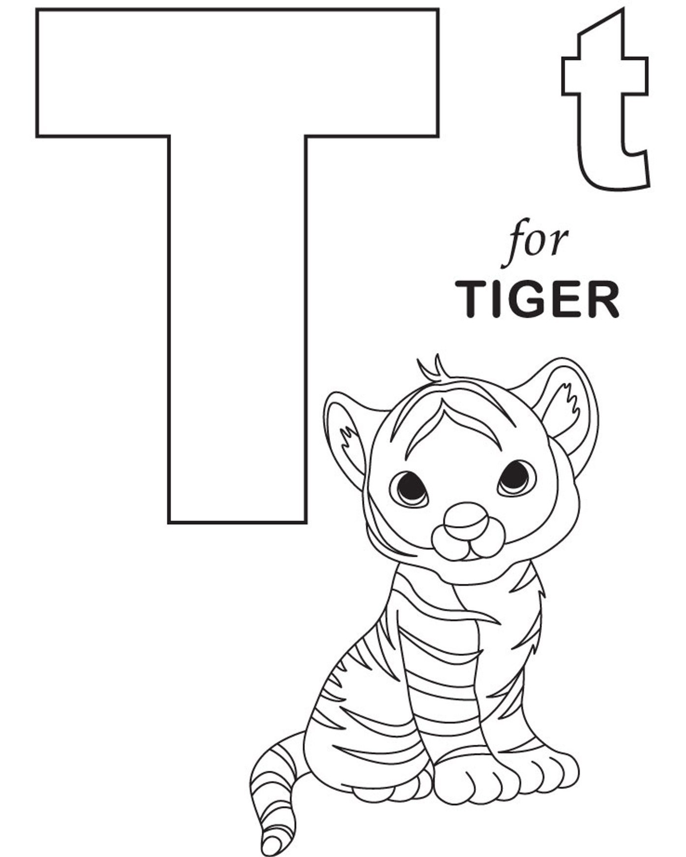 T Coloring Pages For Kids  Tiger Coloring Pages coloringsuite