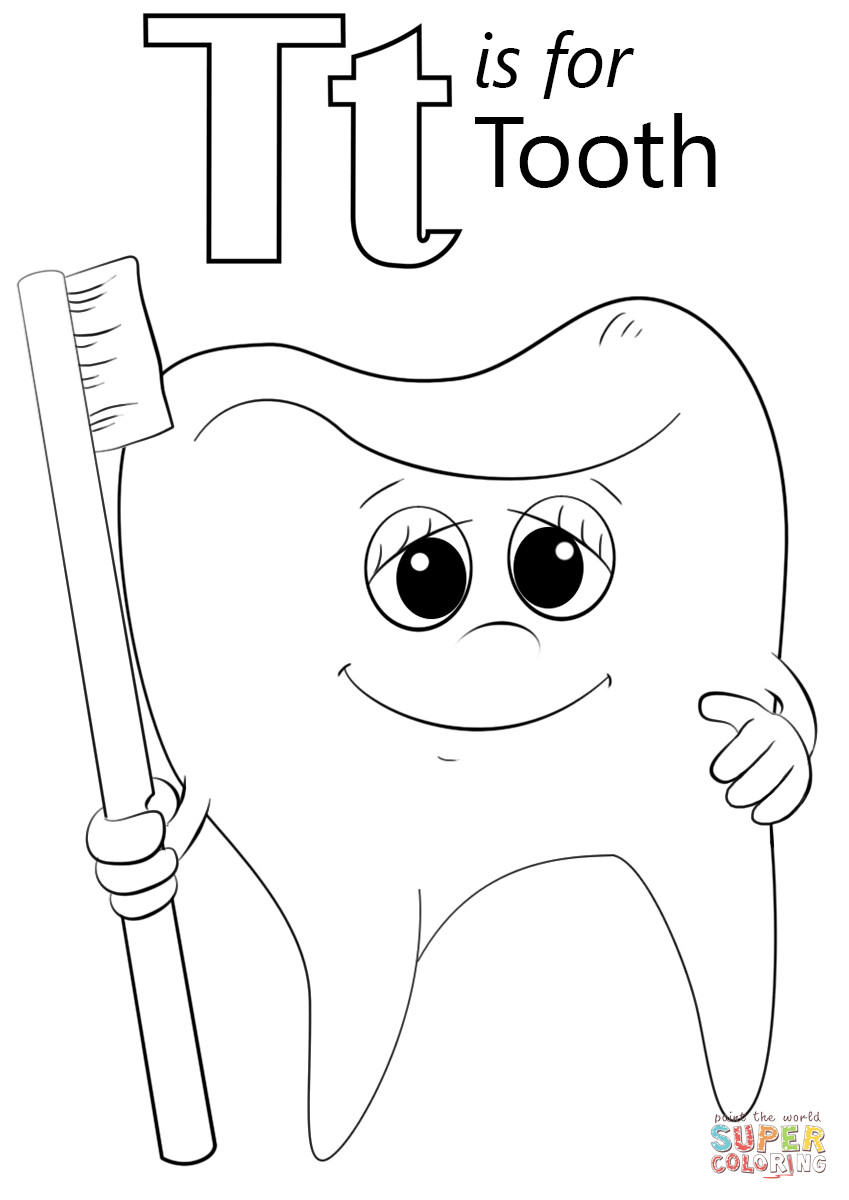 T Coloring Pages For Kids  Letter T is for Tooth coloring page