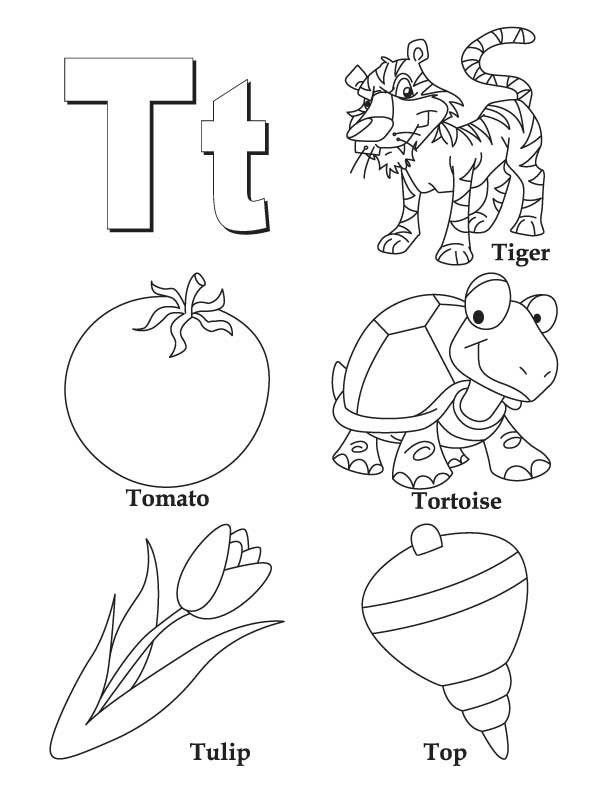 T Coloring Pages For Kids  My A to Z Coloring Book Letter T coloring page