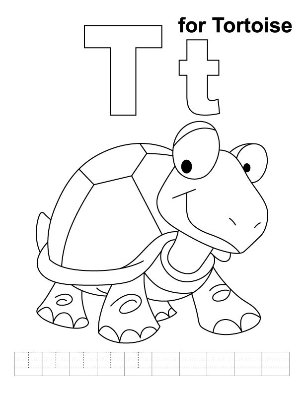 T Coloring Pages For Kids  T for tortoise coloring page with handwriting practice