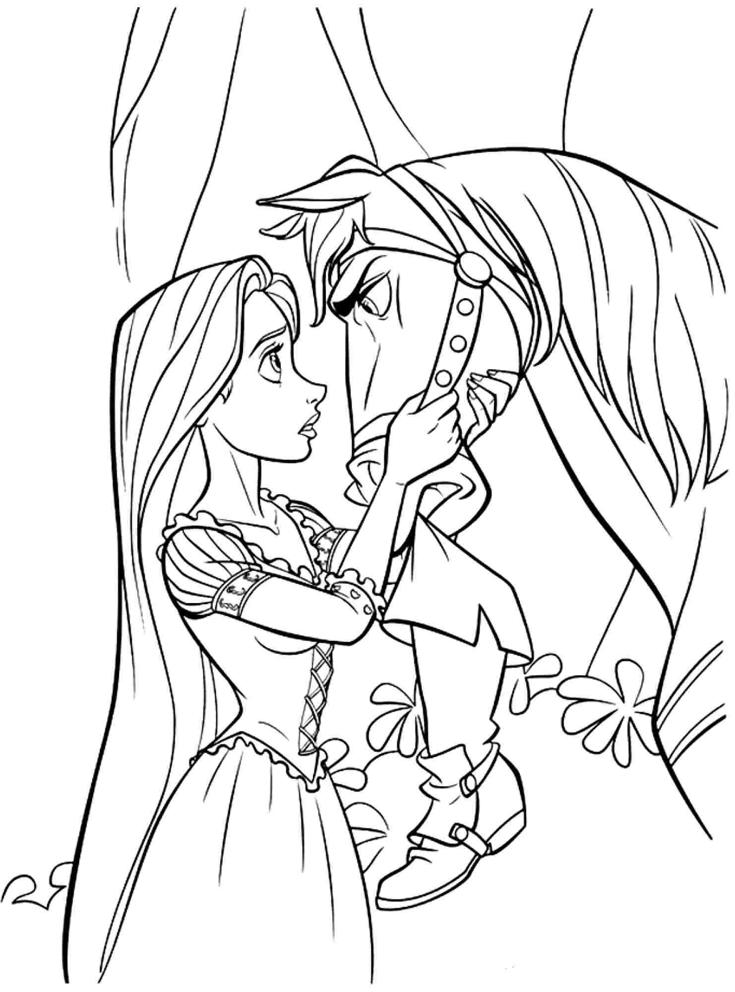 Tangled Coloring Pages For Girls  free disney princess tangled rapunzel coloring sheets for