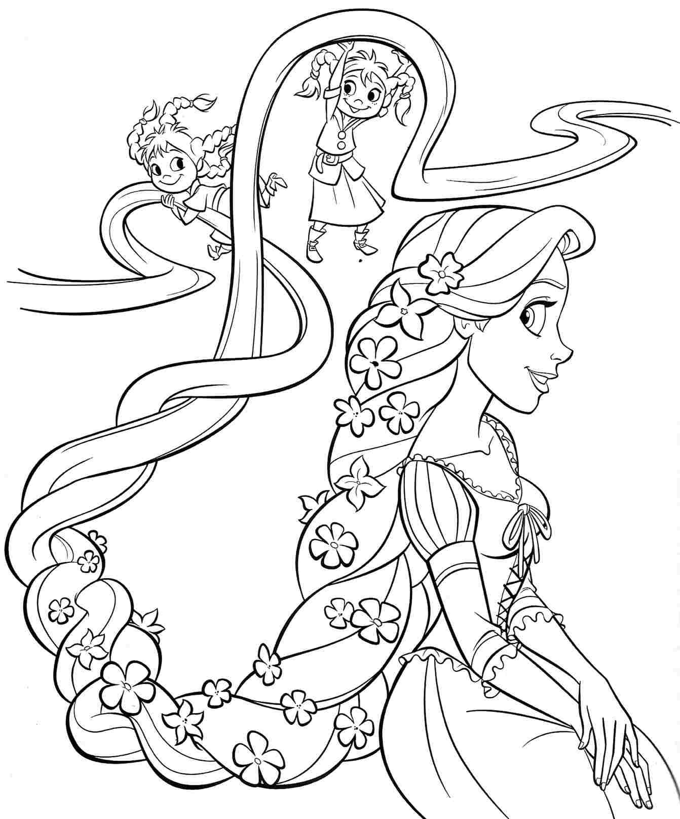 Tangled Coloring Pages For Girls  printable free disney princess rapunzel coloring sheets