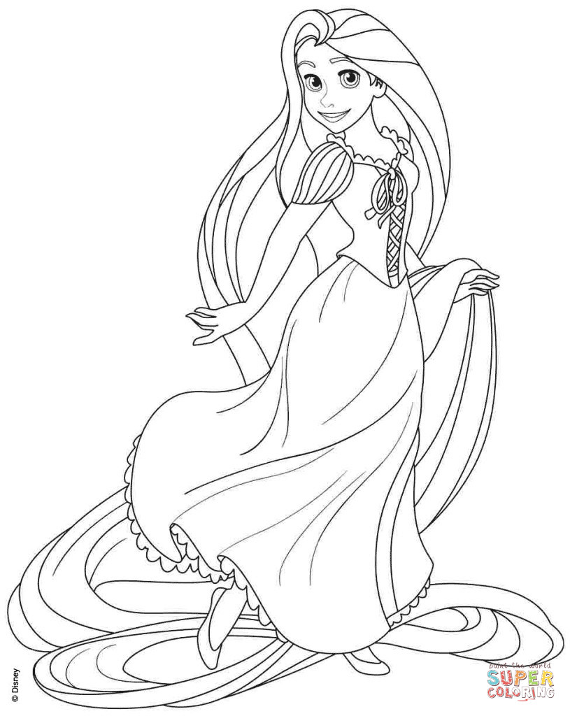 Tangled Coloring Pages For Girls  Rapunzel from Disney Tangled coloring page