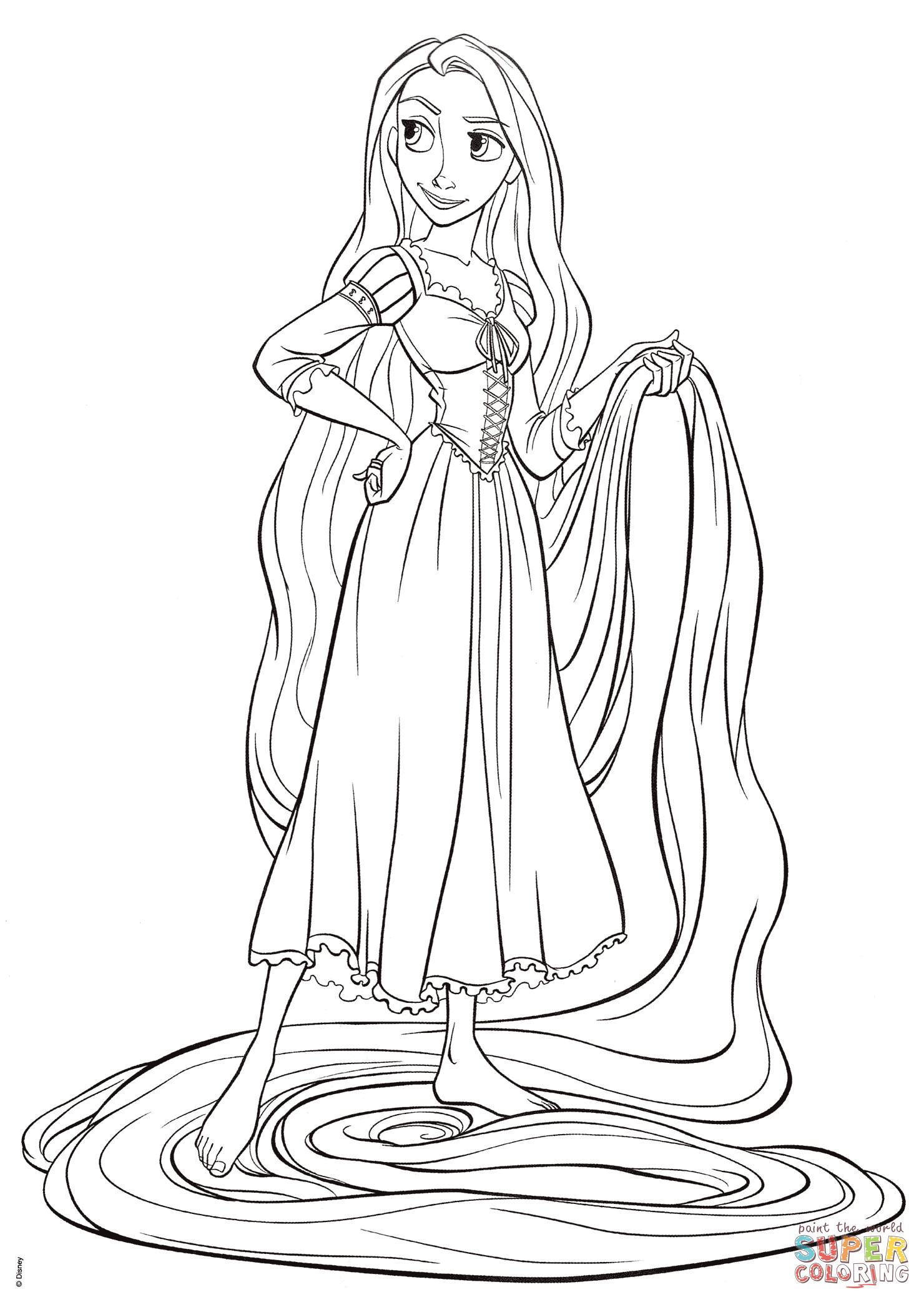 Tangled Coloring Pages For Girls  Rapunzel from Tangled coloring page