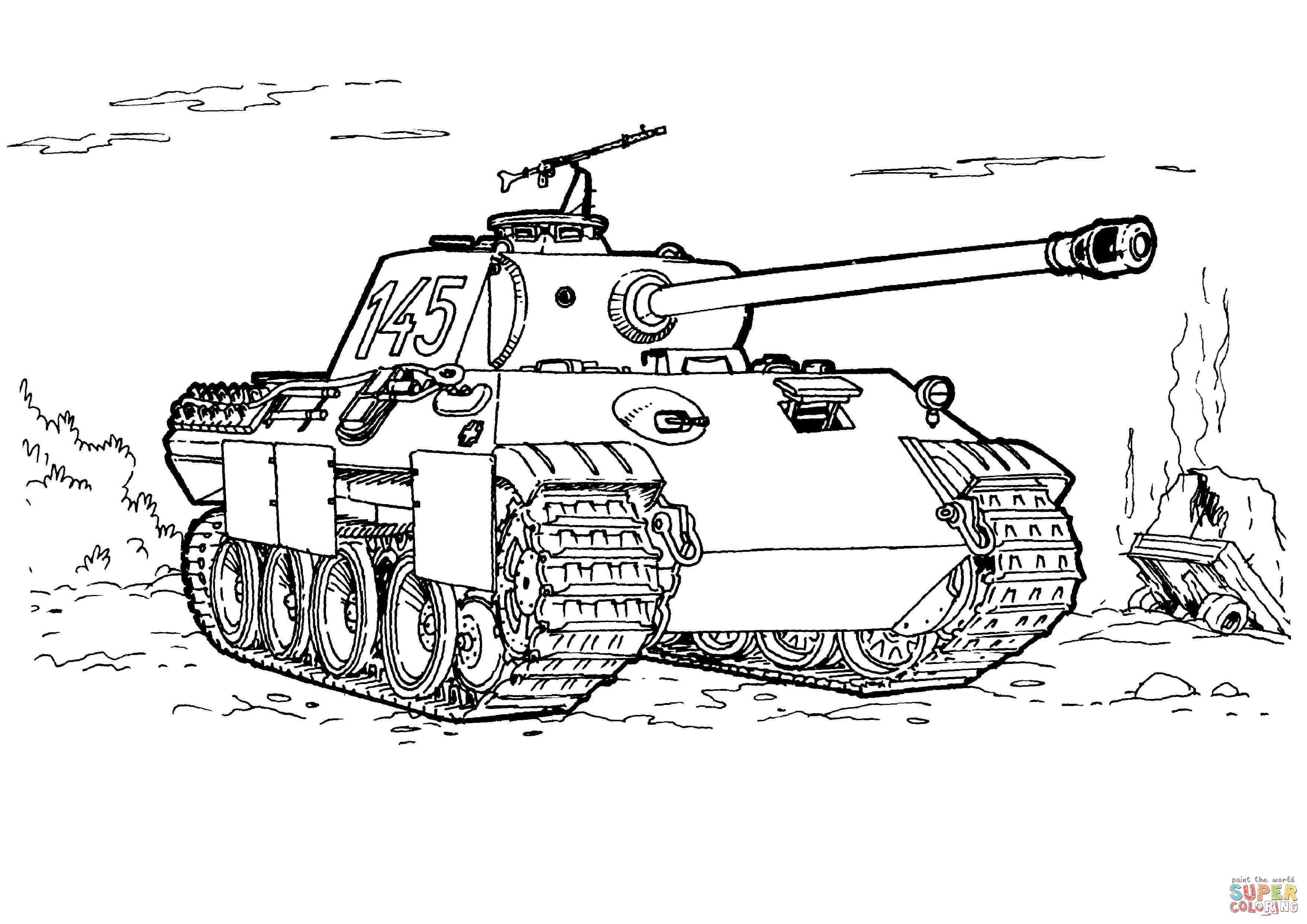 Tanks Coloring Pages  Tank Panther kleurplaat