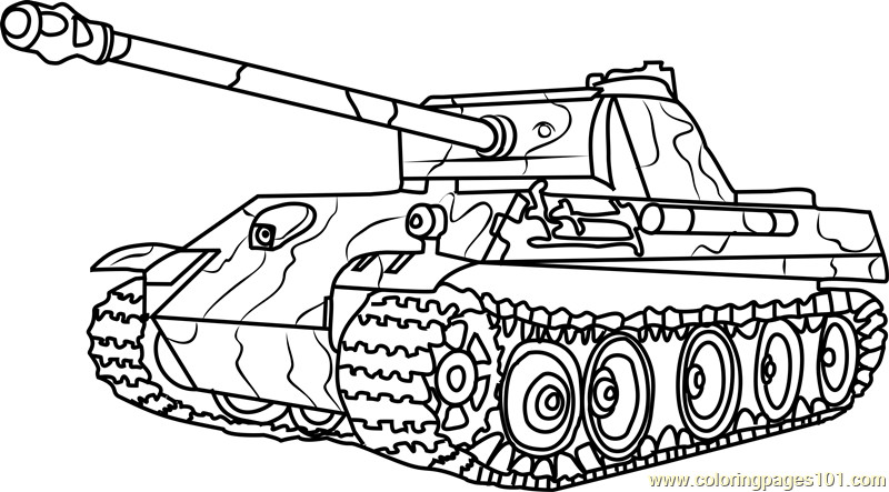 Tanks Coloring Pages  German Panther Army Tank Coloring Page Free Tanks