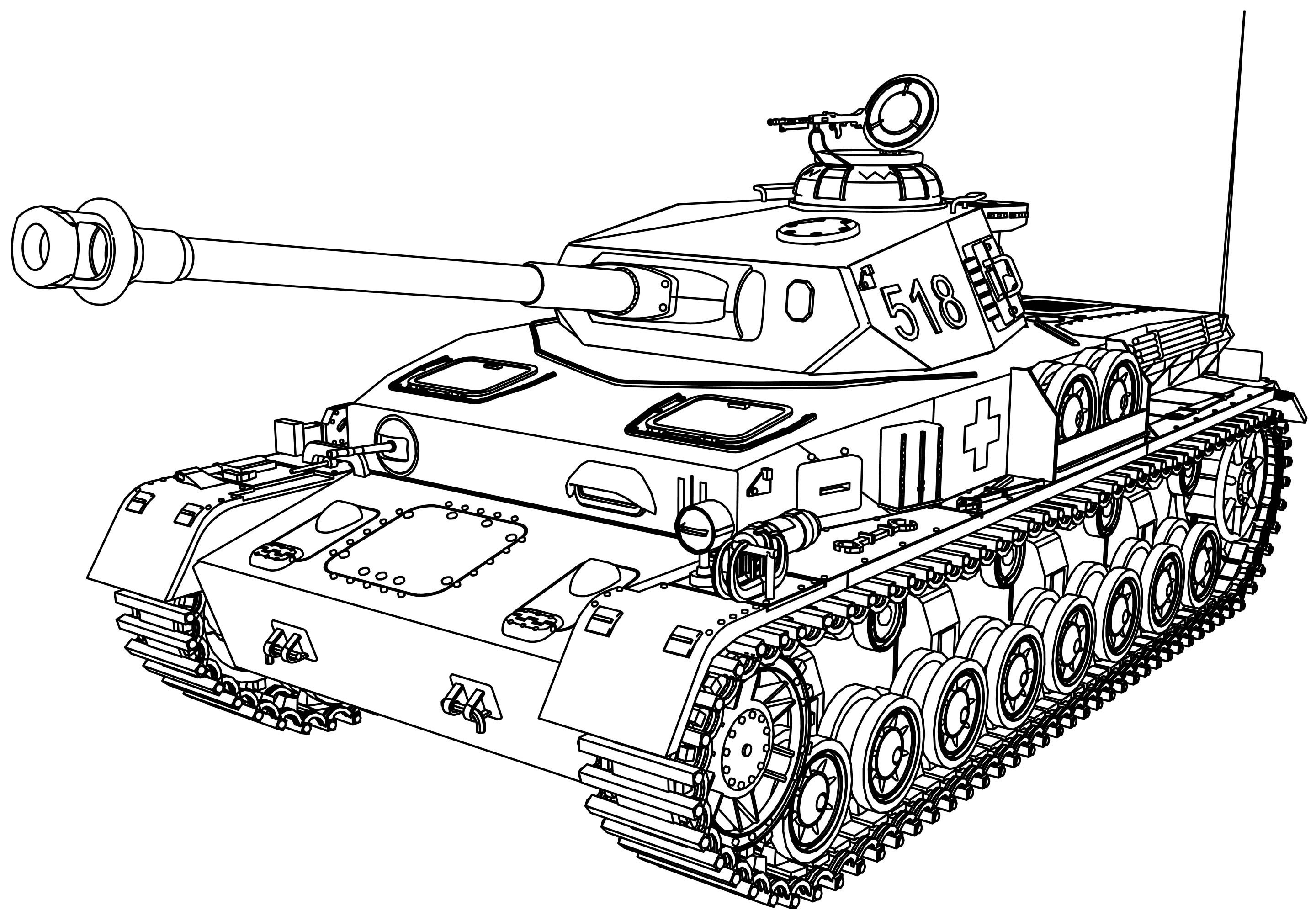 Tanks Coloring Pages  Panzer Tank Coloring Page