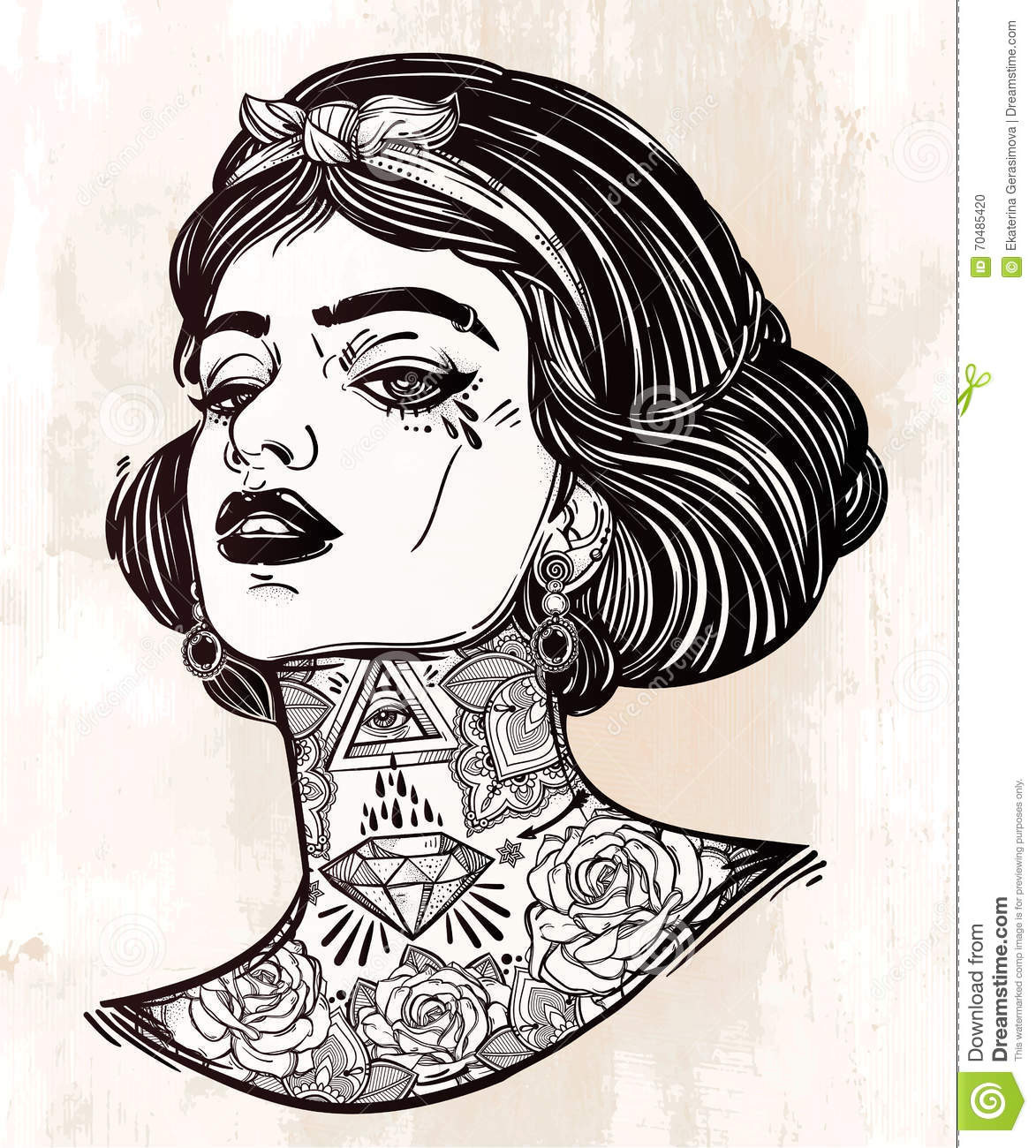 Tattoo Coloring Pages For Adults  Adult Coloring Vector Young Tattooed Girl Stock Vector