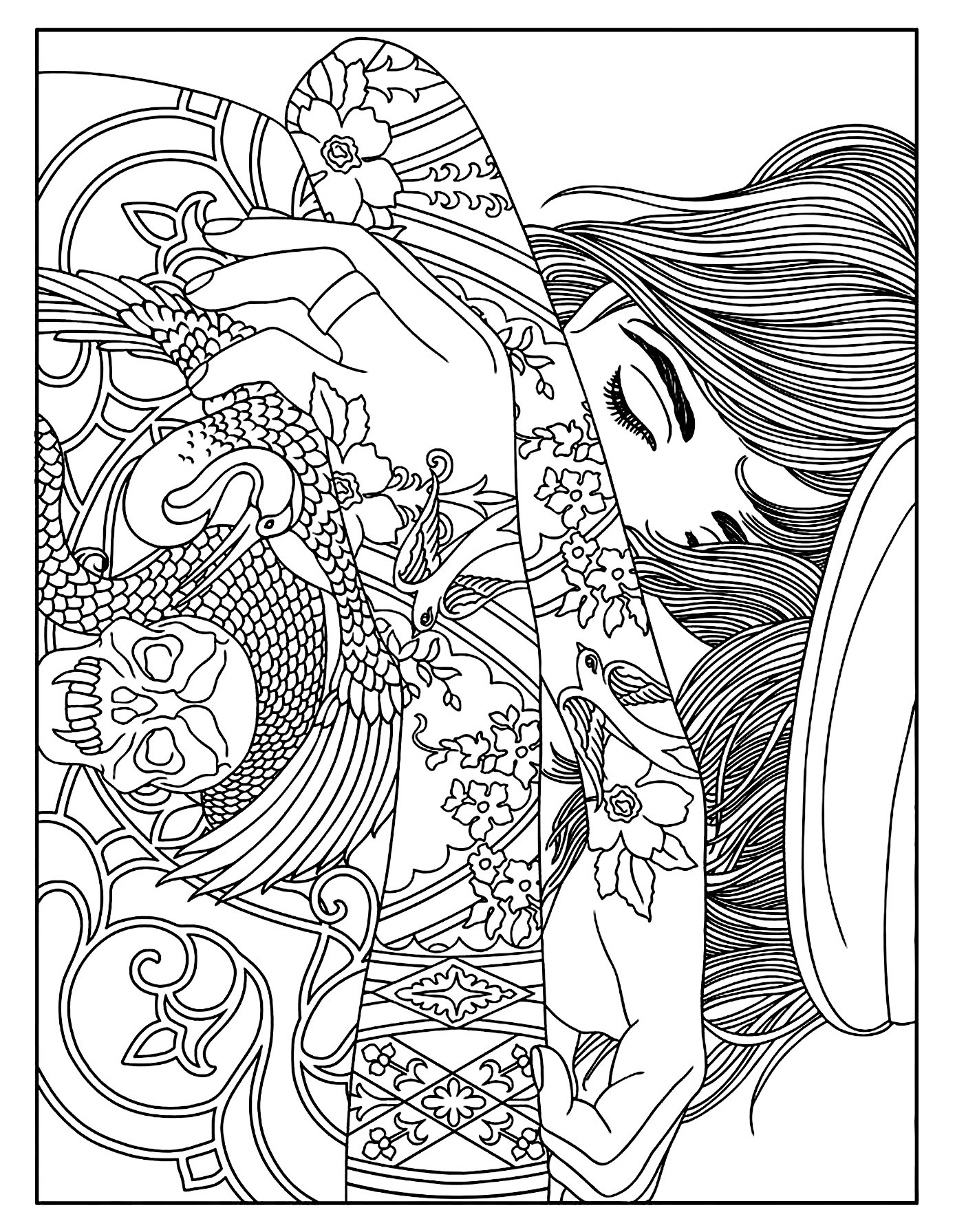 Tattoo Coloring Pages For Adults  Woman tattoos Tattoos Adult Coloring Pages