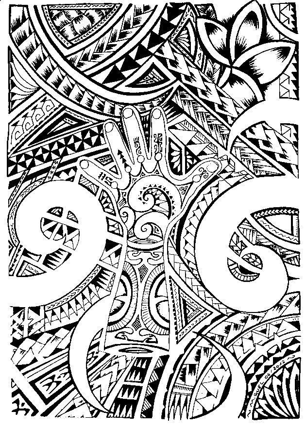 Tattoo Coloring Pages For Adults  Art Therapy coloring page tattoos Maori tattoo 6