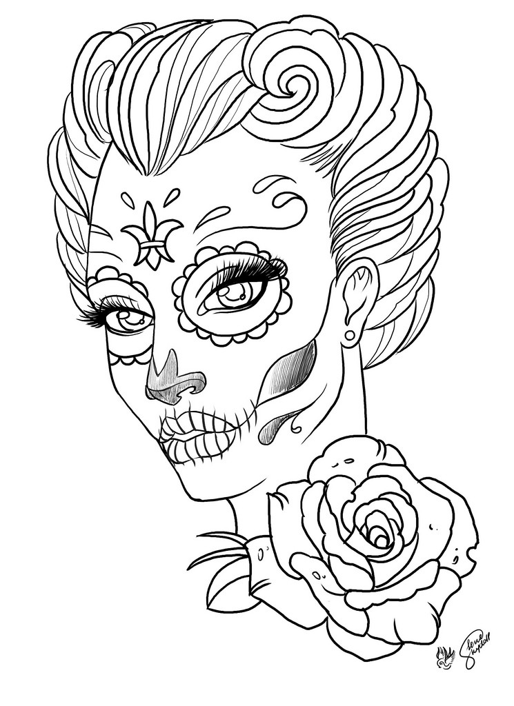 Tattoo Coloring Pages For Adults  Sugar Skull Coloring Pages Bestofcoloring
