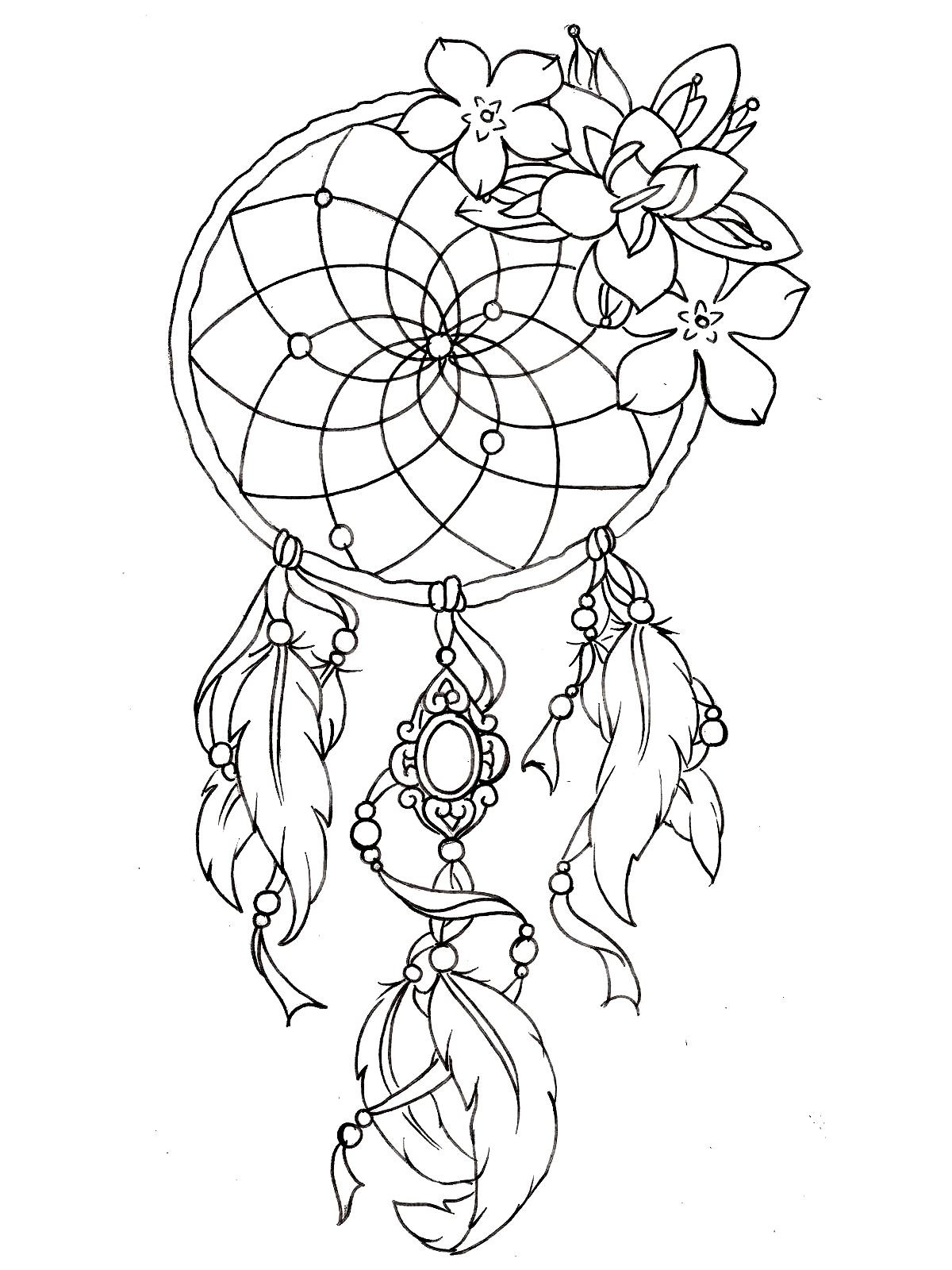 Tattoo Coloring Pages For Adults  Dreamcatcher tattoo designs Tattoos Adult Coloring Pages