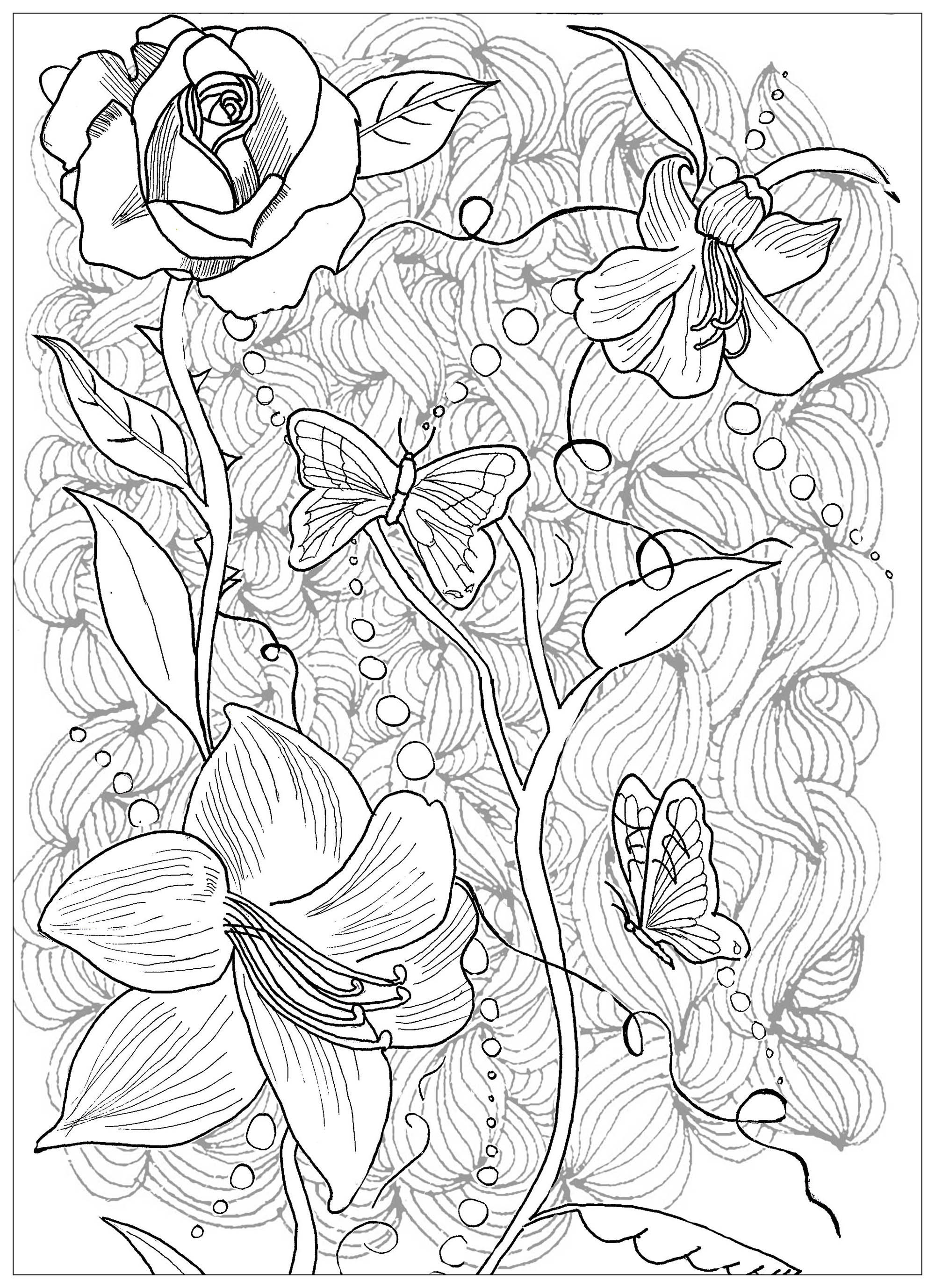 Tattoo Coloring Pages For Adults  Page Tattoo Flowers Butterfly Tattoos Adult Coloring Pages