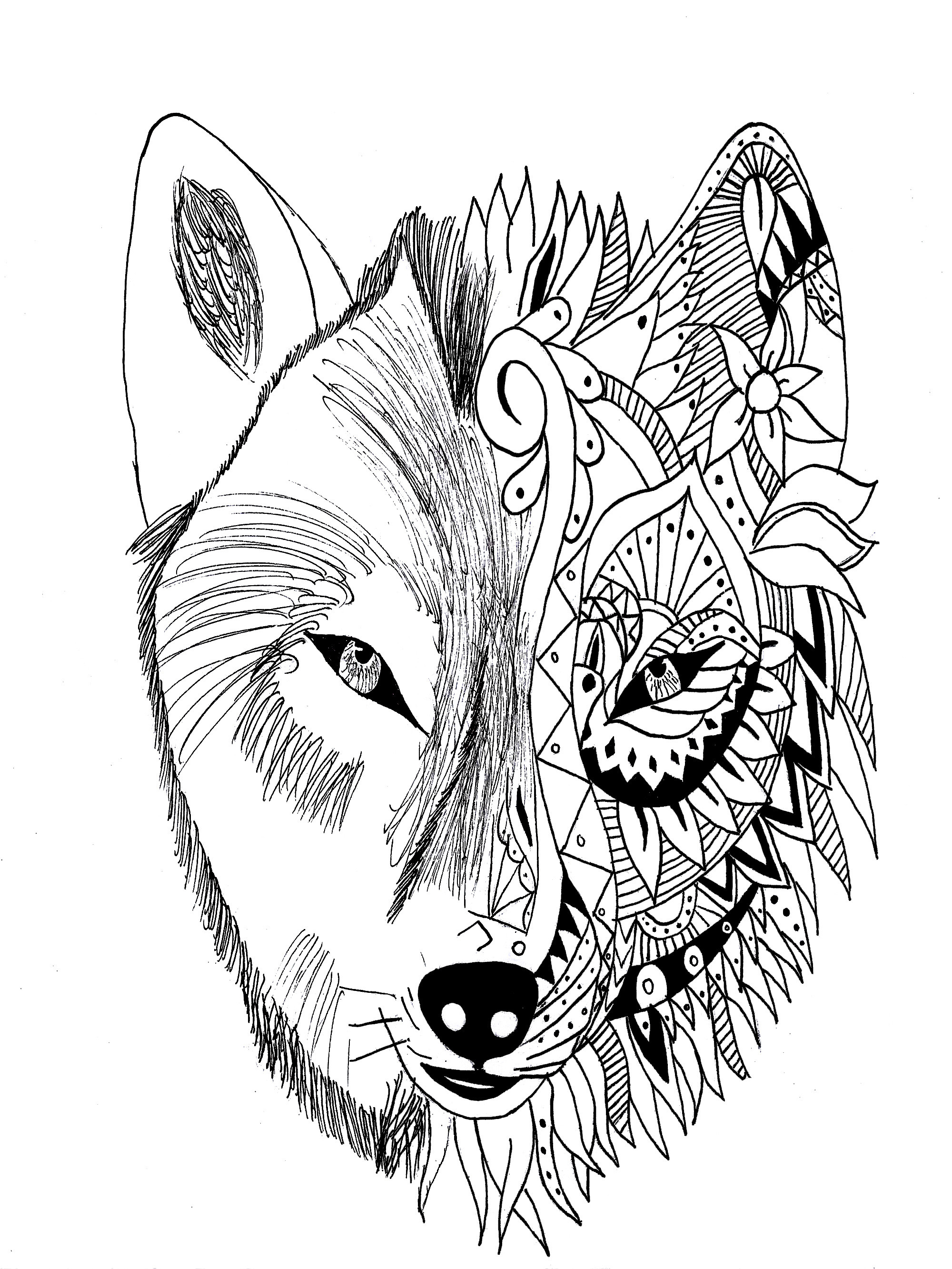 Tattoo Coloring Pages For Adults  Tattoo wolf krissy Tattoos Adult Coloring Pages