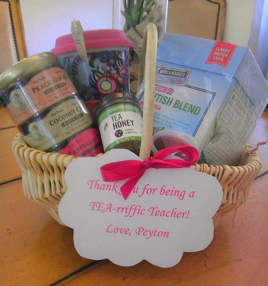 Best ideas about Teacher Gift Basket Ideas . Save or Pin Teacher Appreciation Gift Tea Basket Now.