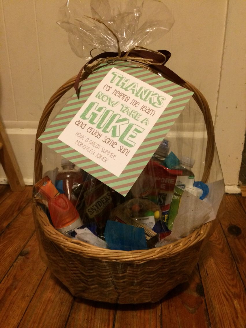 Best ideas about Teacher Gift Basket Ideas . Save or Pin Teacher end of year t basket Outdoor Hiking themed Now.
