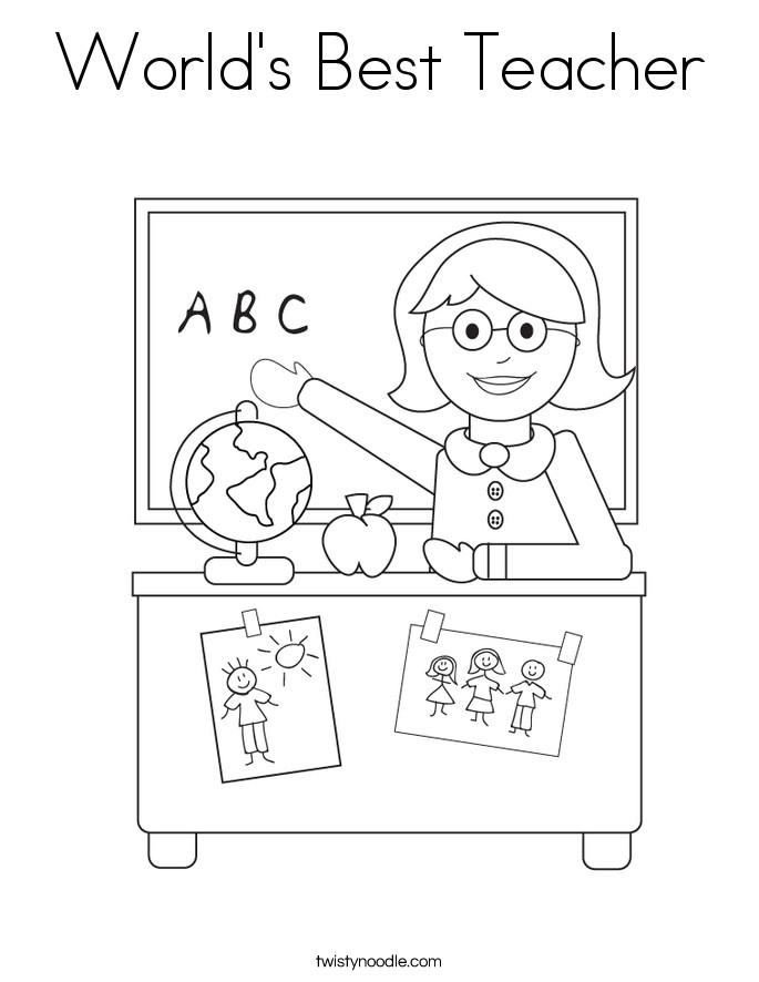 Teachers Coloring Pages  World s Best Teacher Coloring Page Twisty Noodle