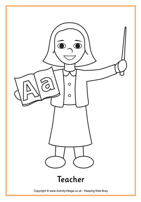 Teachers Coloring Pages  Teacher Colouring Page 4