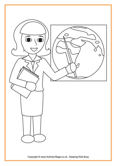 Teachers Coloring Pages  Teacher Colouring Page 1