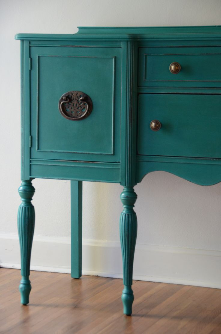 Best ideas about Teal Entryway Table . Save or Pin Hand Painted Sideboard Buffet or entryway furniture by Now.