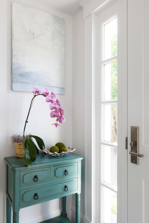 Best ideas about Teal Entryway Table . Save or Pin Teal Console Table Cottage entrance foyer Reiko Feng Now.