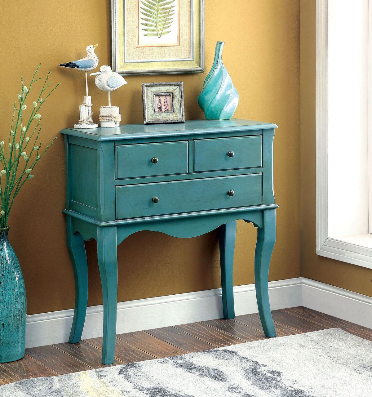 Best ideas about Teal Entryway Table . Save or Pin Furniture of America Peraza Transitional 3 Drawer Hallway Now.