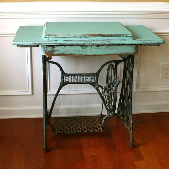 Best ideas about Teal Entryway Table . Save or Pin Vintage Turquoise Entryway Table Desk Singer Treadle Sewing Now.