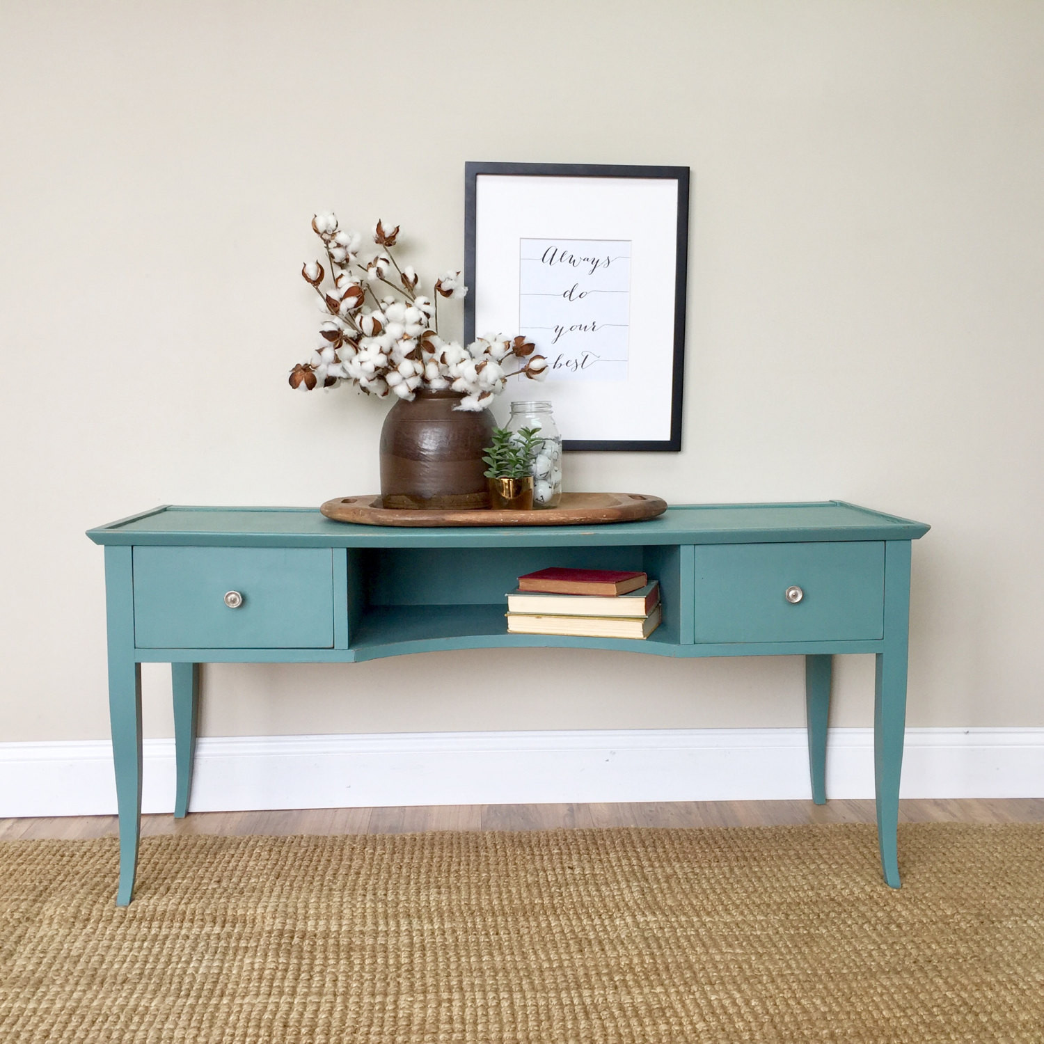 Best ideas about Teal Entryway Table . Save or Pin TV Media Console Teal Console Table Painted Furniture Now.