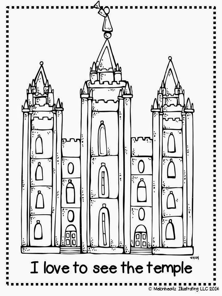 Temple Coloring Pages  Melonheadz LDS illustrating I Love to see the temple