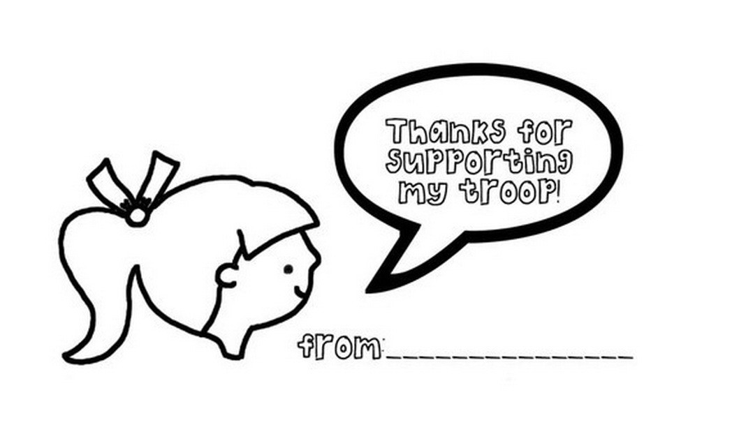 Thank You Coloring Sheets For Girls  thank you girl coloring page scouts Coloring