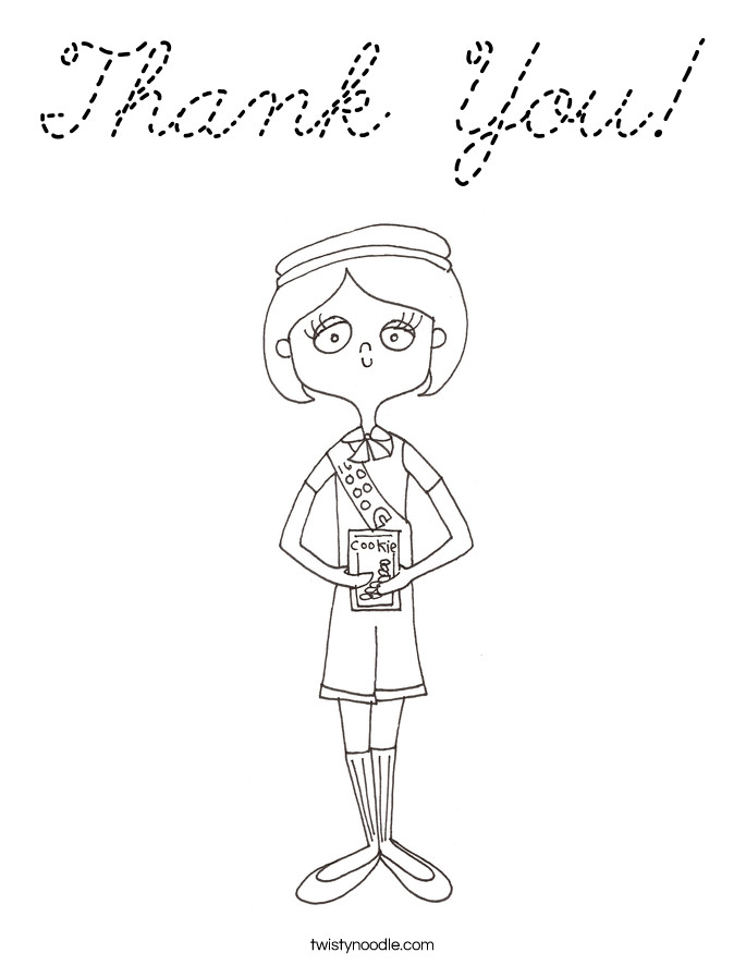 Thank You Coloring Sheets For Girls  Thank You Coloring Page Cursive Twisty Noodle
