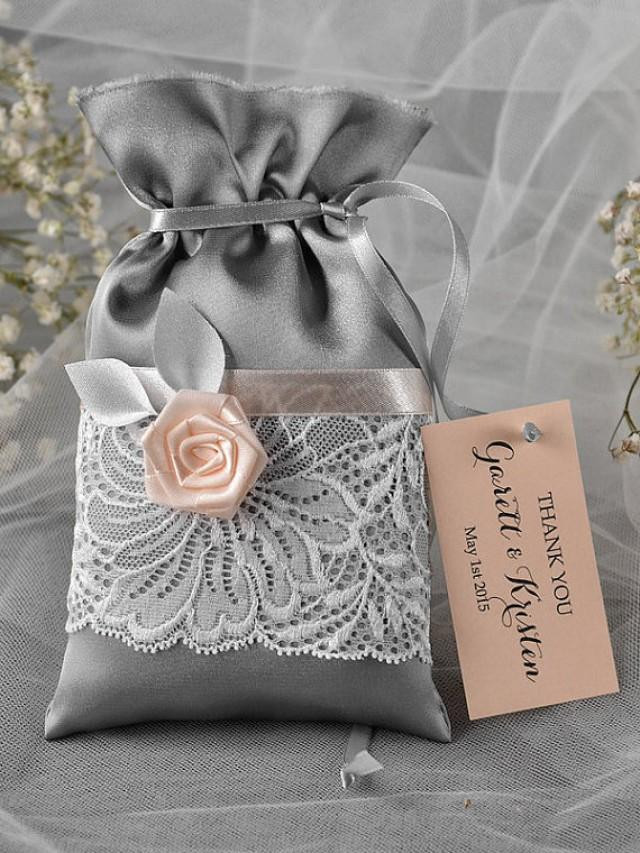 Thank You Gift Bag Ideas  Custom Listing 100 Grey And Peach Wedding Favor Bag