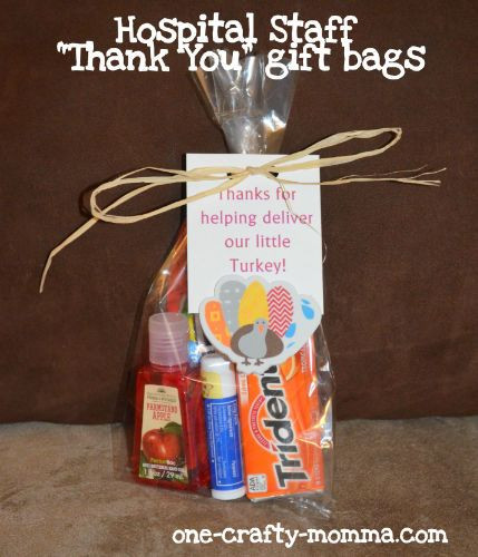 Thank You Gift Bag Ideas  A thank you t bag that is perfect for the hospital