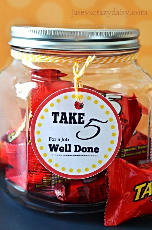 Thank You Gift Ideas For Employees  Thank you t Take 5 candy Teacher employee t