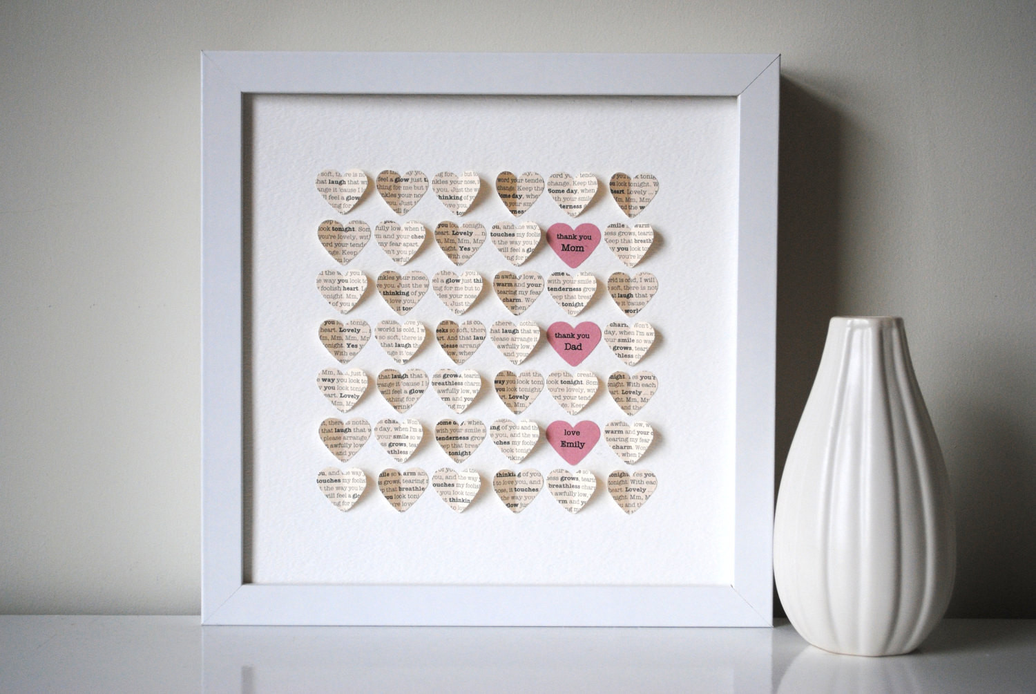 Thank You Gift Ideas For Parents  Parents Thank You Gift Personalized 3D Hearts Made