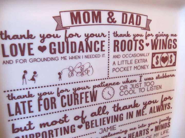 Thank You Gift Ideas For Parents  Parent Wedding GiftThank You Platter from Bride and Groom