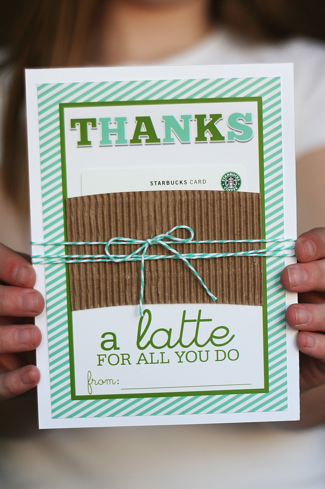 "Thank You Gift Ideas For Teachers  Printable Thanks ""a latte"" Gift Card Holder Teacher"